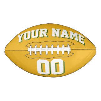 金ゴールドの白いおよび緑のカスタムなフットボール アメリカンフットボール