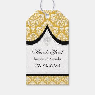 金ゴールドの白いダマスク織の結婚式は付きます感謝していしています ギフトタグ