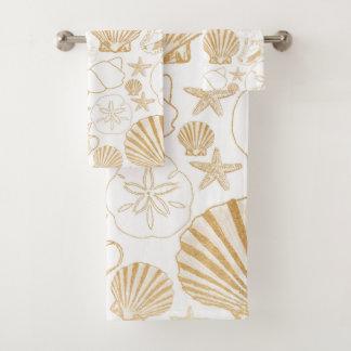 金ゴールドの白いビーチのテーマの浴室の装飾、海の貝 バスタオルセット