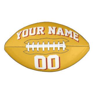 金ゴールドの白およびバーガンディの習慣のフットボール アメリカンフットボール