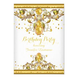 金ゴールドの白によって宝石で飾られる誕生日のパーティの招待状2 12.7 X 17.8 インビテーションカード