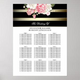 金ゴールドの白黒花の結婚式の座席の図表 ポスター