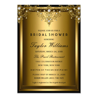 金ゴールドの真珠のヴィンテージの魅力のブライダルシャワーの招待 12.7 X 17.8 インビテーションカード
