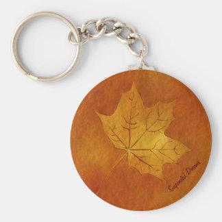 金ゴールドの秋のカエデの葉 キーホルダー