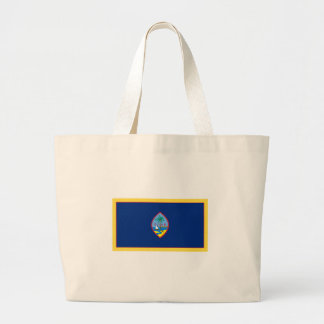 金ゴールドの端のグアムの旗 ラージトートバッグ