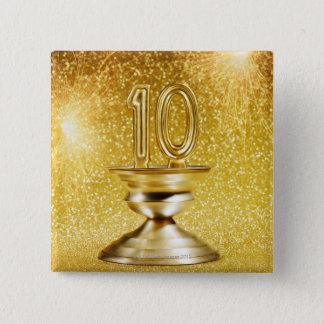 金ゴールドの第10トロフィ 5.1CM 正方形バッジ