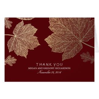 金ゴールドの紅葉のバーガンディの結婚式は感謝していしています カード