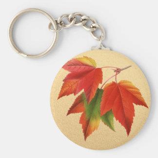 金ゴールドの紅葉の紅葉のカエデの葉 キーホルダー