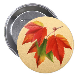 金ゴールドの紅葉の紅葉のカエデの葉 7.6CM 丸型バッジ