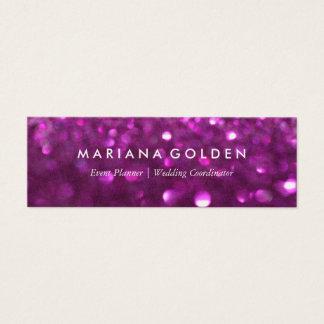 金ゴールドの紙の紫色のグリッターの輝きの名刺 スキニー名刺