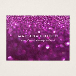 金ゴールドの紙の紫色のグリッターの輝きの名刺 名刺