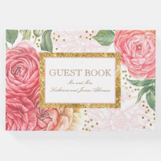 金ゴールドの紙吹雪およびピンクの花のシックな結婚式 ゲストブック