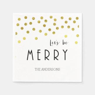 金ゴールドの紙吹雪のクリスマスのナプキン スタンダードカクテルナプキン