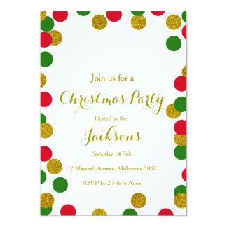 金ゴールドの紙吹雪のクリスマスのパーティの招待状 カード
