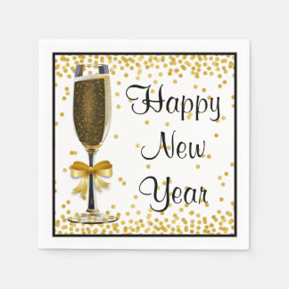 金ゴールドの紙吹雪のシャンペンの明けましておめでとうのイブのパーティー スタンダードカクテルナプキン