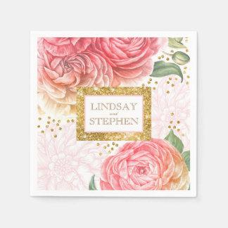 金ゴールドの紙吹雪のピンクのヴィンテージの花の結婚式 スタンダードカクテルナプキン