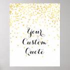 金ゴールドの紙吹雪の名前入りな引用文の芸術のプリントのカスタム ポスター