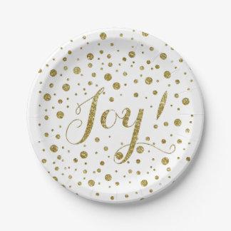 金ゴールドの紙吹雪の喜びの輝きの休日 ペーパープレート