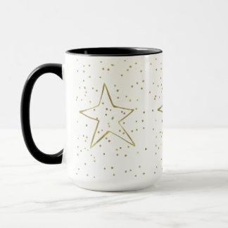 金ゴールドの紙吹雪の星 マグカップ
