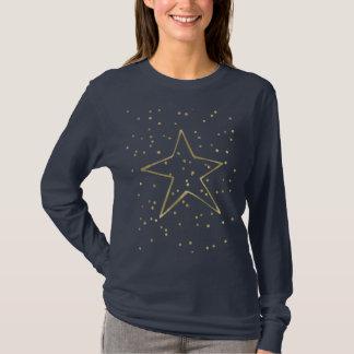 金ゴールドの紙吹雪の星 Tシャツ