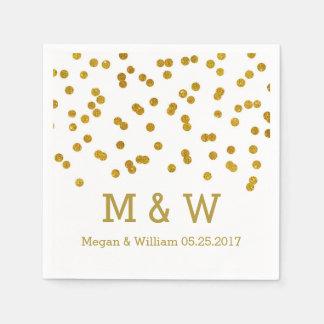 金ゴールドの紙吹雪の結婚式のモノグラム スタンダードカクテルナプキン