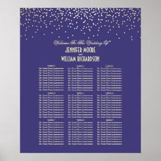 金ゴールドの紙吹雪は海軍結婚式の座席の図表に点を打ちます ポスター