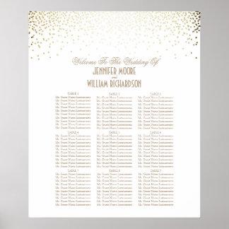 金ゴールドの紙吹雪は白い結婚式の座席の図表に点を打ちます ポスター