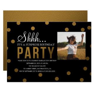 金ゴールドの紙吹雪及び黒いびっくりパーティ カード