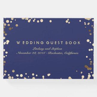 金ゴールドの紙吹雪海軍エレガントな結婚式 ゲストブック