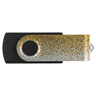 金ゴールドの紙吹雪 USBフラッシュドライブ