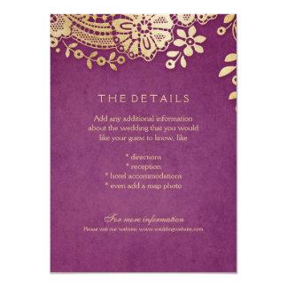 金ゴールドの紫色のエレガントなレースの結婚式の明細カード カード