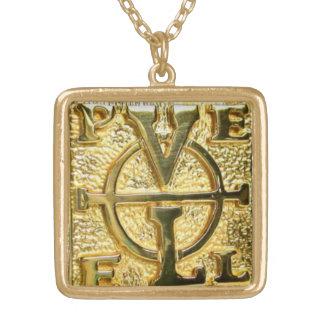 金ゴールドの終わりのジョンDee PELE Enochianのペンダントの鎖 ゴールドプレートネックレス