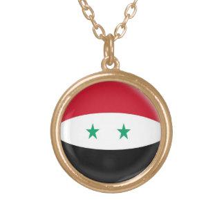 金ゴールドの終わりのネックレスのシリアのシリア人の旗 ゴールドプレートネックレス