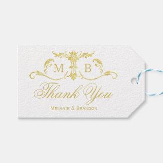 金ゴールドの結婚式の引き出物のギフトのラベルの結婚はラベル感謝していしています ギフトタグ