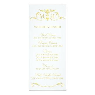 金ゴールドの結婚式夕食メニューテンプレート カード