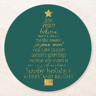 金ゴールドの緑のメリーで、明るいクリスマスツリーの単語 ラウンドペーパーコースター