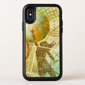 金ゴールドの緑の明るい女性のバレーボール オッターボックスシンメトリー iPhone X ケース