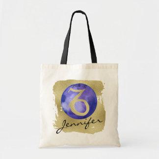 金ゴールドの背景のインディゴの(占星術の)十二宮図の印の山羊座 トートバッグ