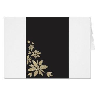 金ゴールドの花とのエレガントな黒のブランクの招待 カード