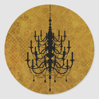 金ゴールドの花のシャンデリアの結婚式のシール ラウンドシール
