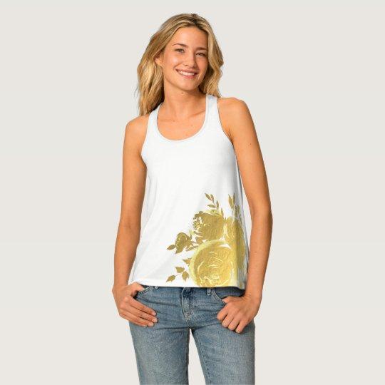 金ゴールドの花のバラの魅力的な植物のモダンな上品 タンクトップ