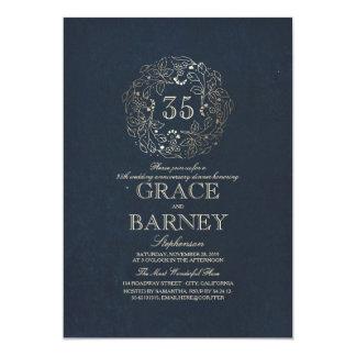 金ゴールドの花のヴィンテージ海軍結婚記念日 カード