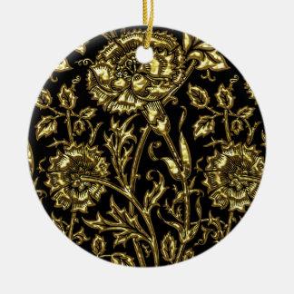 金ゴールドの花の上品 セラミックオーナメント