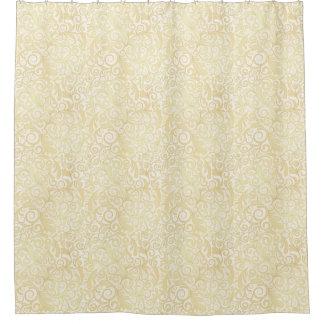金ゴールドの花柄の葉パターン シャワーカーテン