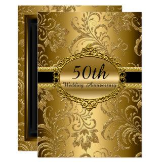 金ゴールドの花柄第50の結婚記念日の招待 カード