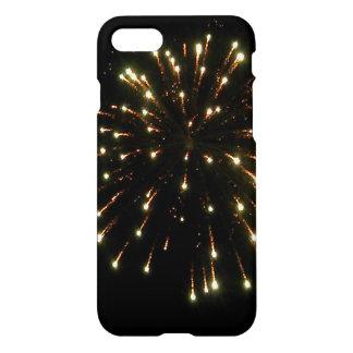 金ゴールドの花火の破烈 iPhone 7ケース