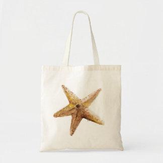 金ゴールドの茶色のヒトデの海の白いバッグのヒトデ トートバッグ
