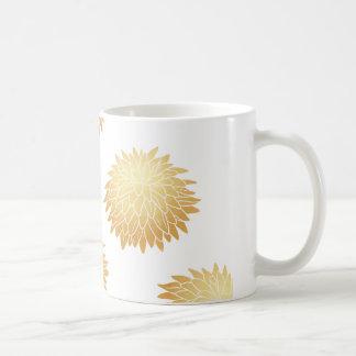 金ゴールドの菊の花模様 コーヒーマグカップ