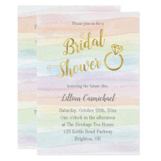 金ゴールドの虹の水彩画のブライダルシャワー カード