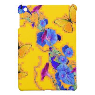 金ゴールドの蝶青の朝顔 iPad MINIケース